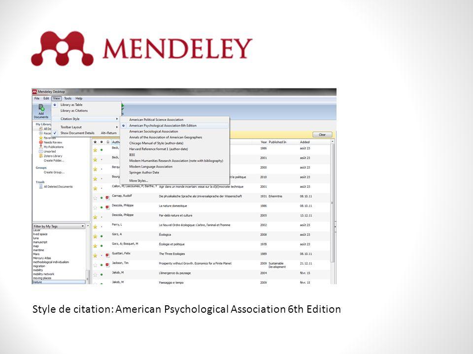Style de citation: American Psychological Association 6th Edition
