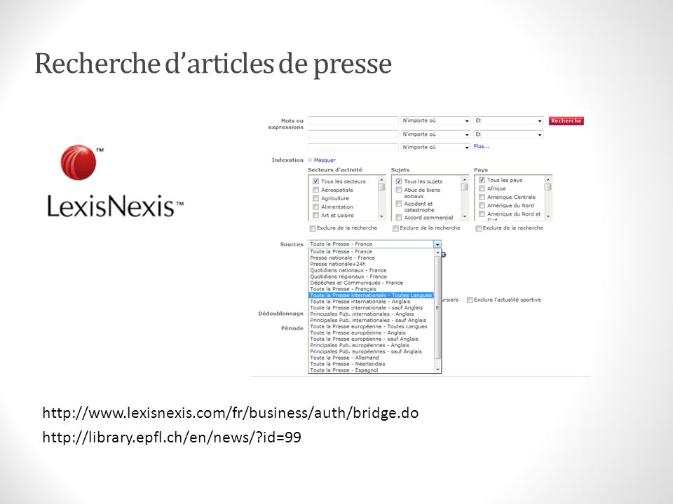Recherche d'articles de presse
