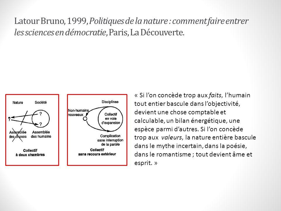 Latour Bruno, 1999, Politiques de la nature : comment faire entrer les sciences en démocratie, Paris, La Découverte.