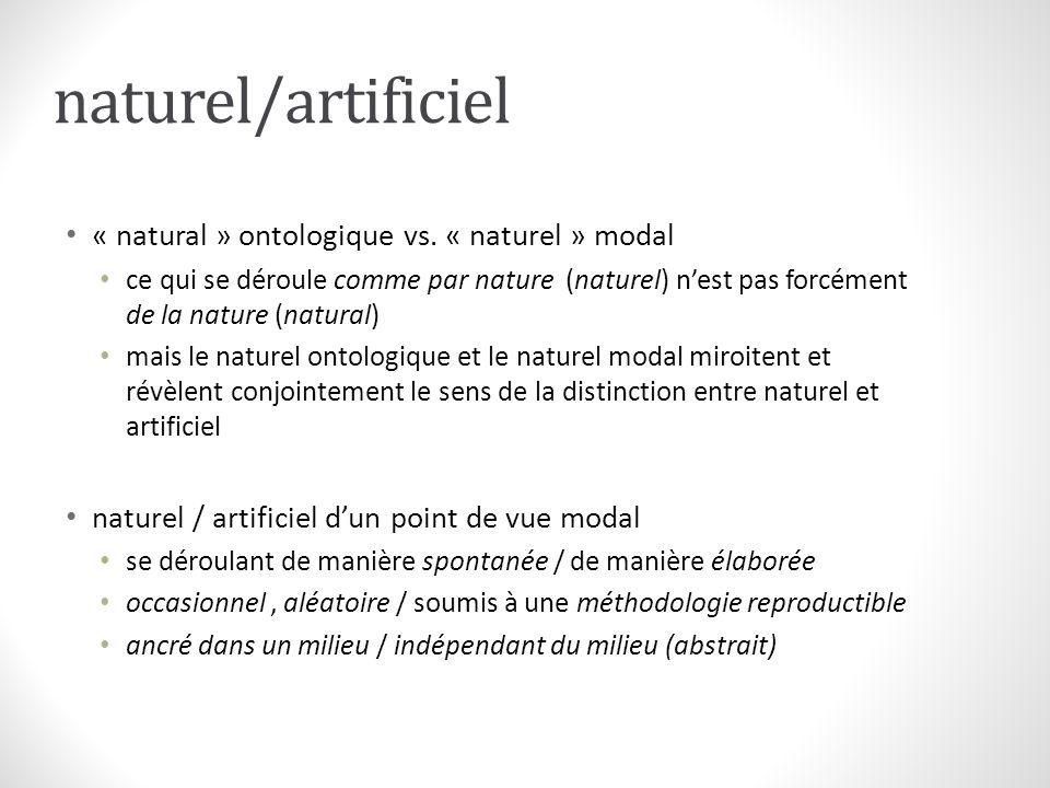 naturel/artificiel « natural » ontologique vs. « naturel » modal