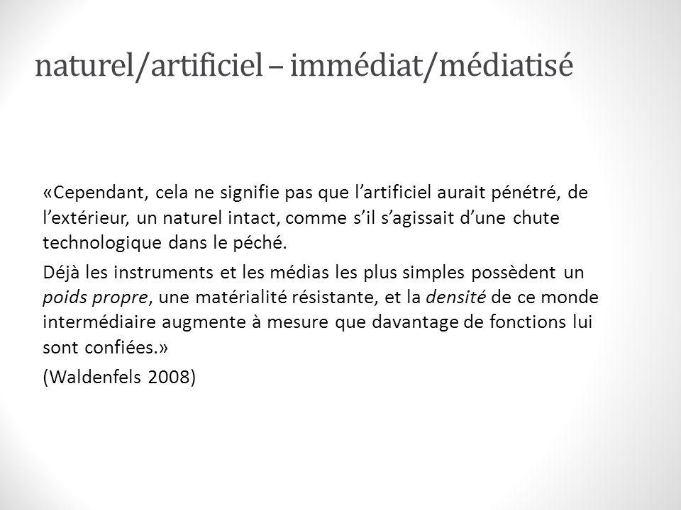 naturel/artificiel – immédiat/médiatisé