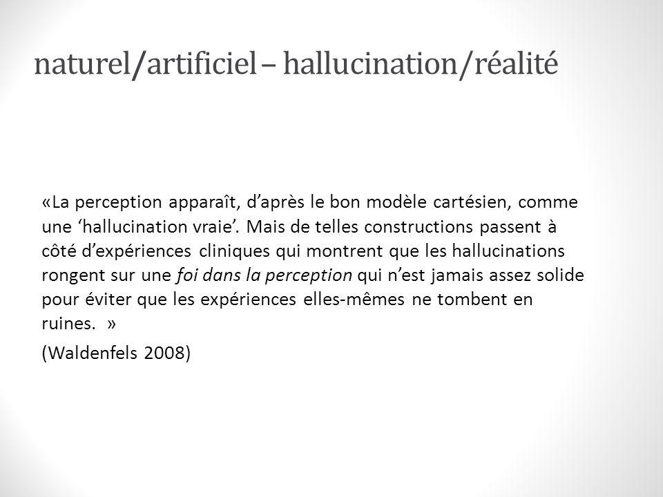 naturel/artificiel – hallucination/réalité