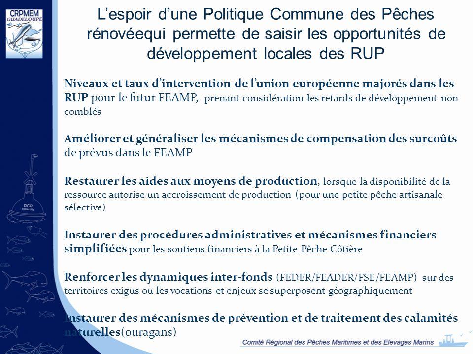 L'espoir d'une Politique Commune des Pêches rénovéequi permette de saisir les opportunités de développement locales des RUP
