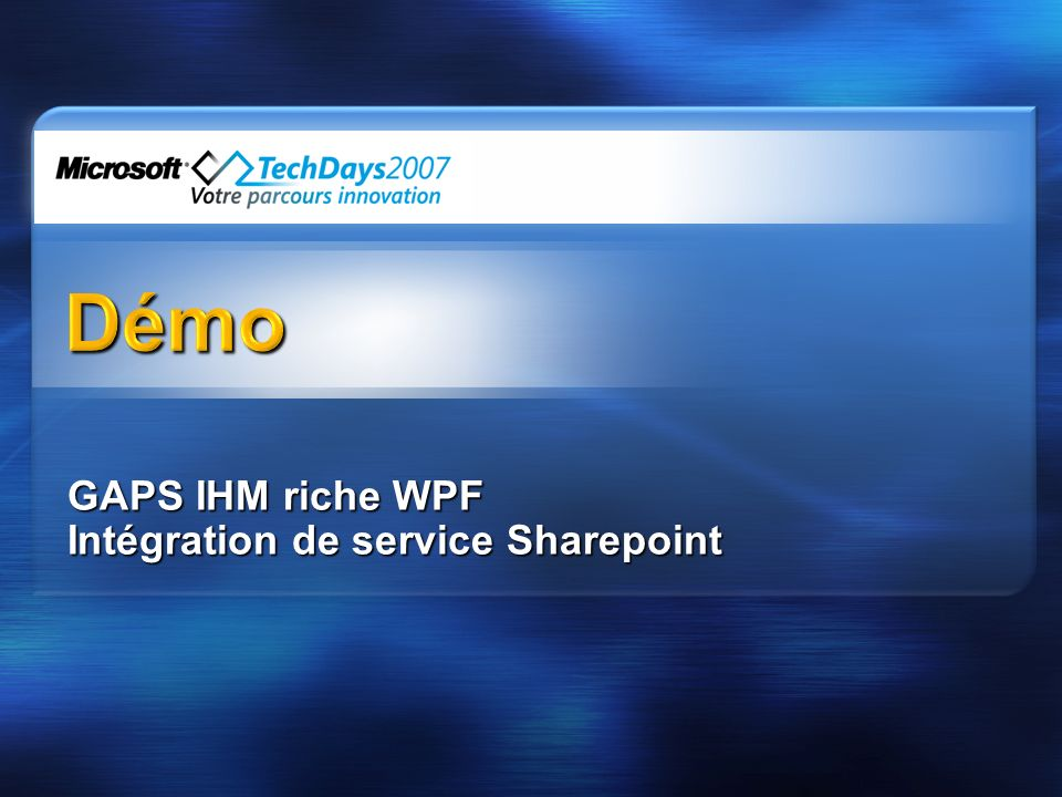 GAPS IHM riche WPF Intégration de service Sharepoint