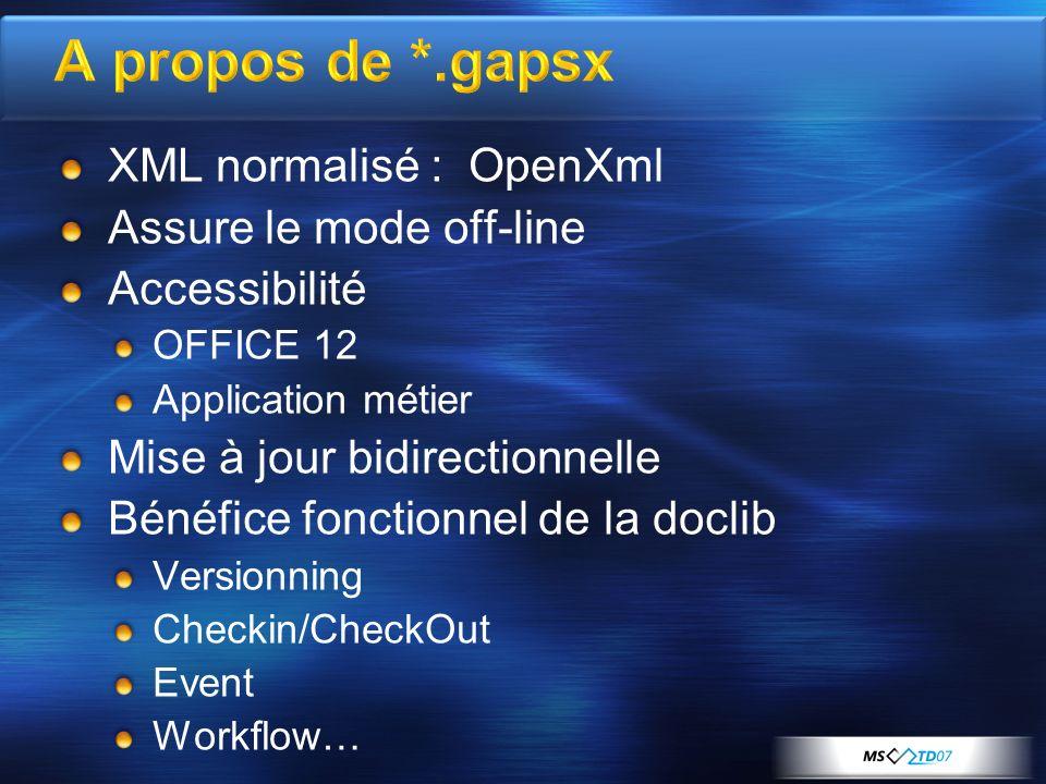 A propos de *.gapsx XML normalisé : OpenXml Assure le mode off-line