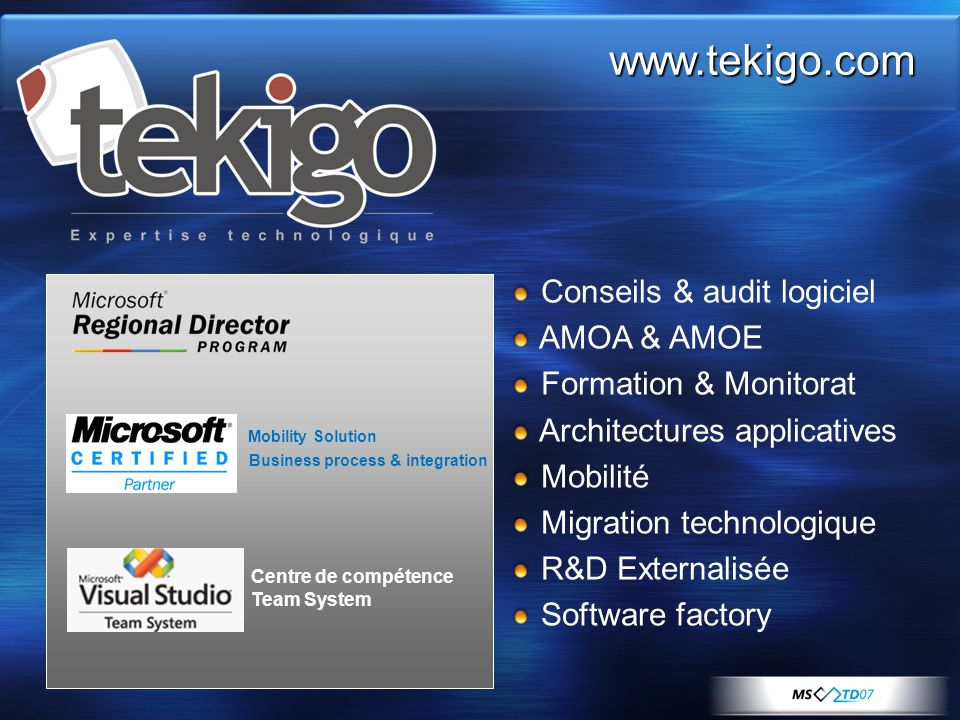 www.tekigo.com Conseils & audit logiciel AMOA & AMOE