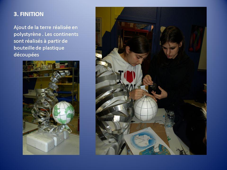 3. FINITION Ajout de la terre réalisée en polystyrène .