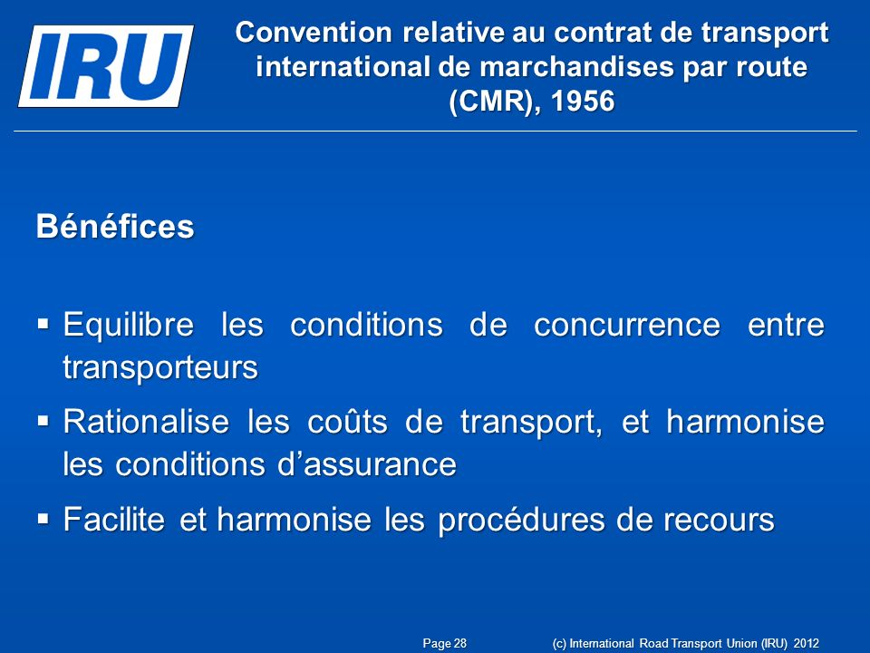 Equilibre les conditions de concurrence entre transporteurs