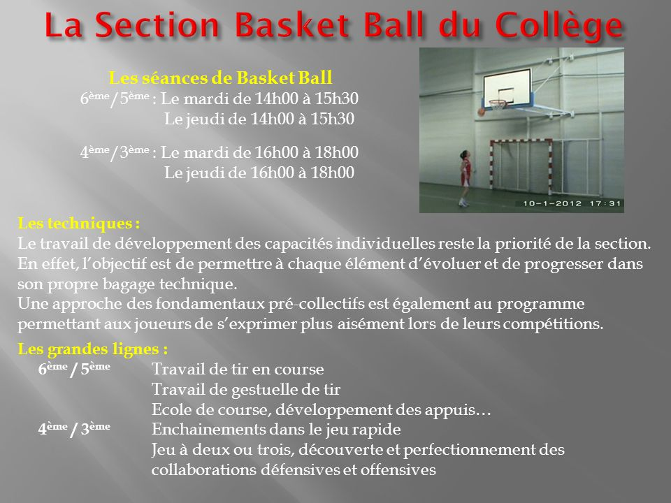 La Section Basket Ball du Collège