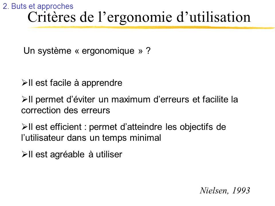 Critères de l'ergonomie d'utilisation