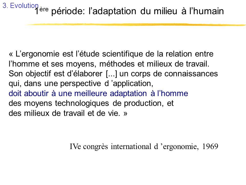 1ère période: l'adaptation du milieu à l'humain