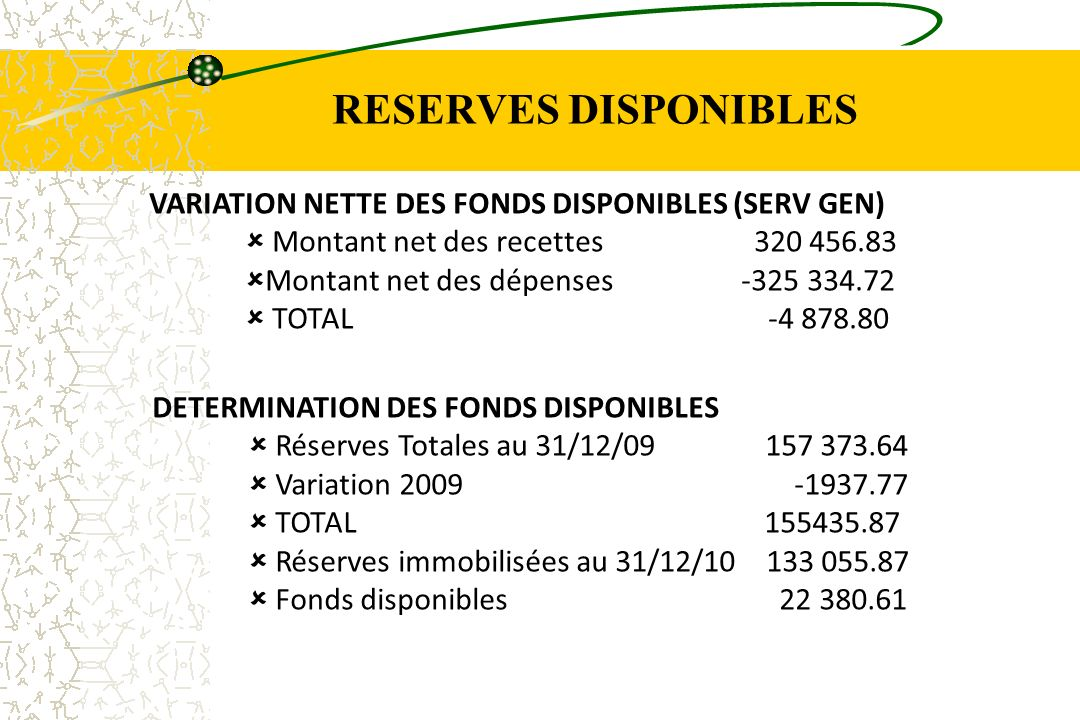 RESERVES DISPONIBLES VARIATION NETTE DES FONDS DISPONIBLES (SERV GEN)