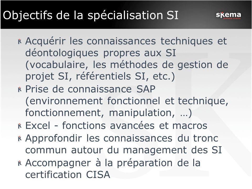 Objectifs de la spécialisation SI