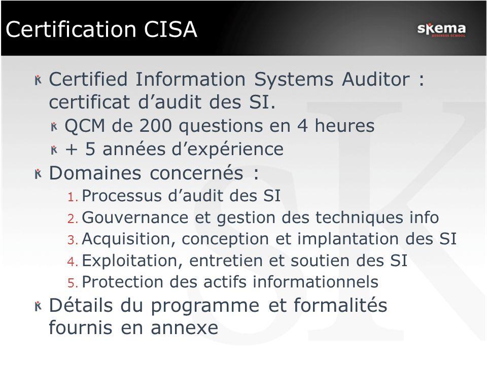 Certification CISA Certified Information Systems Auditor : certificat d'audit des SI. QCM de 200 questions en 4 heures.