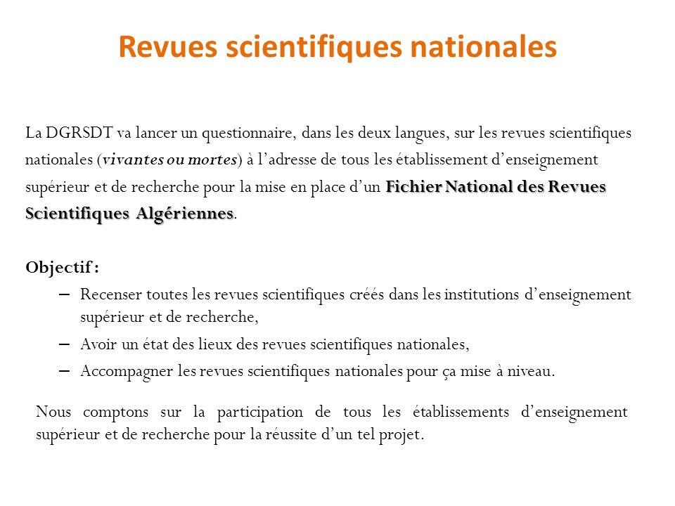 Revues scientifiques nationales