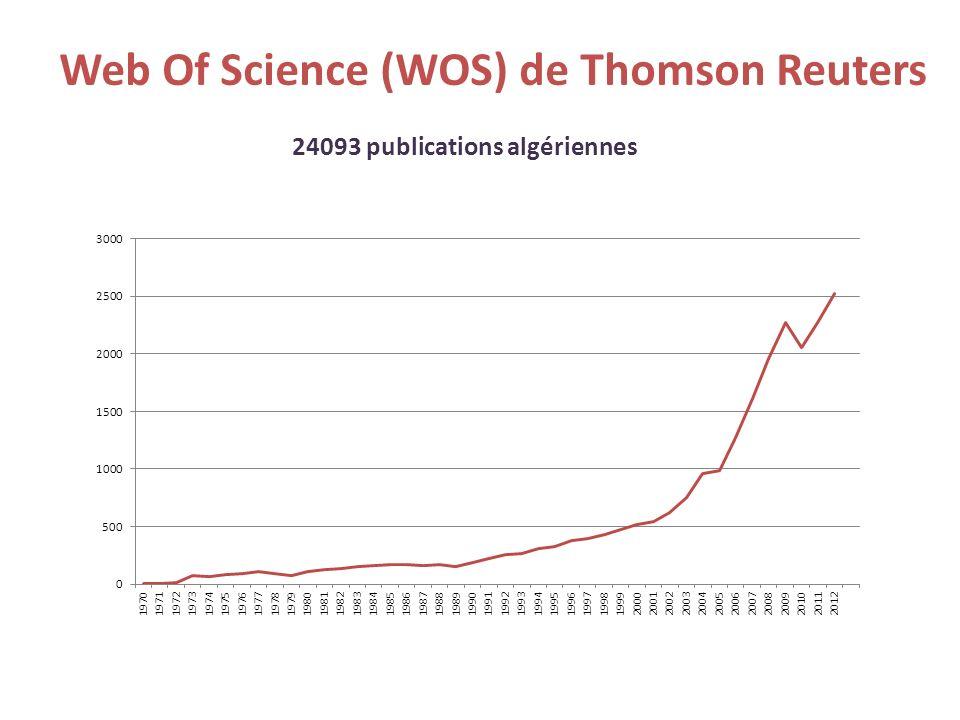 Web Of Science (WOS) de Thomson Reuters 24093 publications algériennes