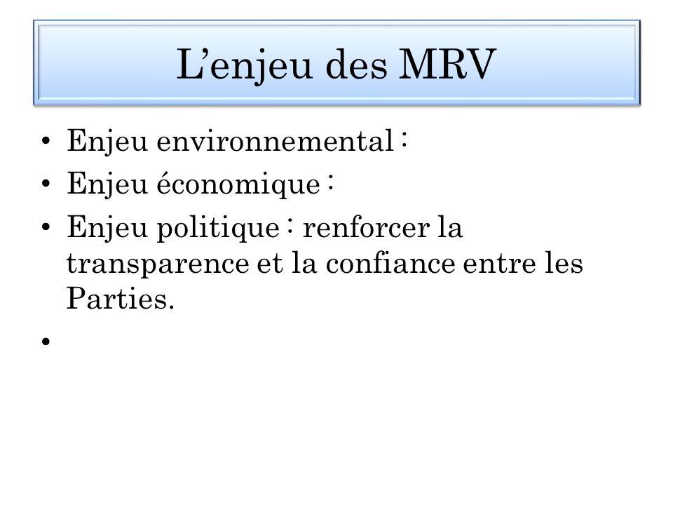 L'enjeu des MRV Enjeu environnemental : Enjeu économique :