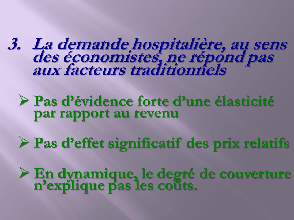 La demande hospitalière, au sens des économistes, ne répond pas aux facteurs traditionnels