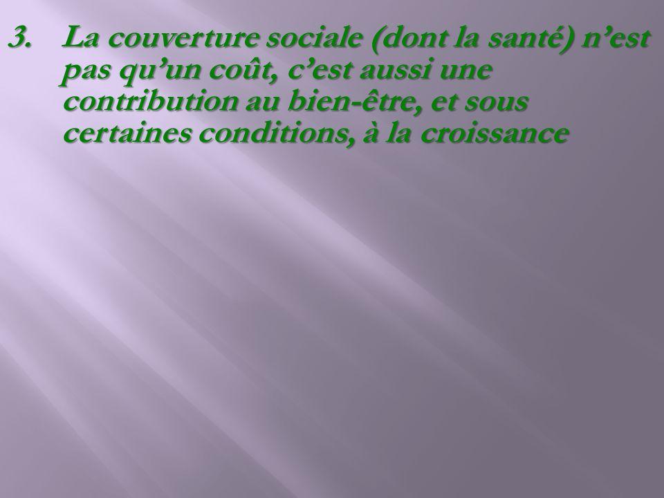 La couverture sociale (dont la santé) n'est pas qu'un coût, c'est aussi une contribution au bien-être, et sous certaines conditions, à la croissance