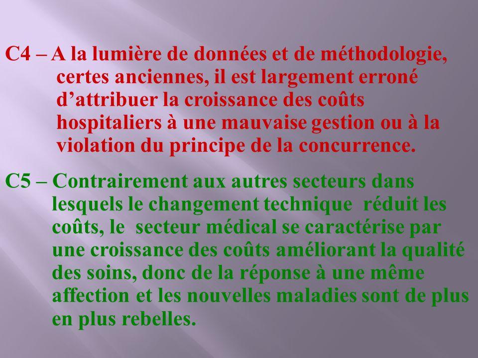 C4 – A la lumière de données et de méthodologie, certes anciennes, il est largement erroné d'attribuer la croissance des coûts hospitaliers à une mauvaise gestion ou à la violation du principe de la concurrence.