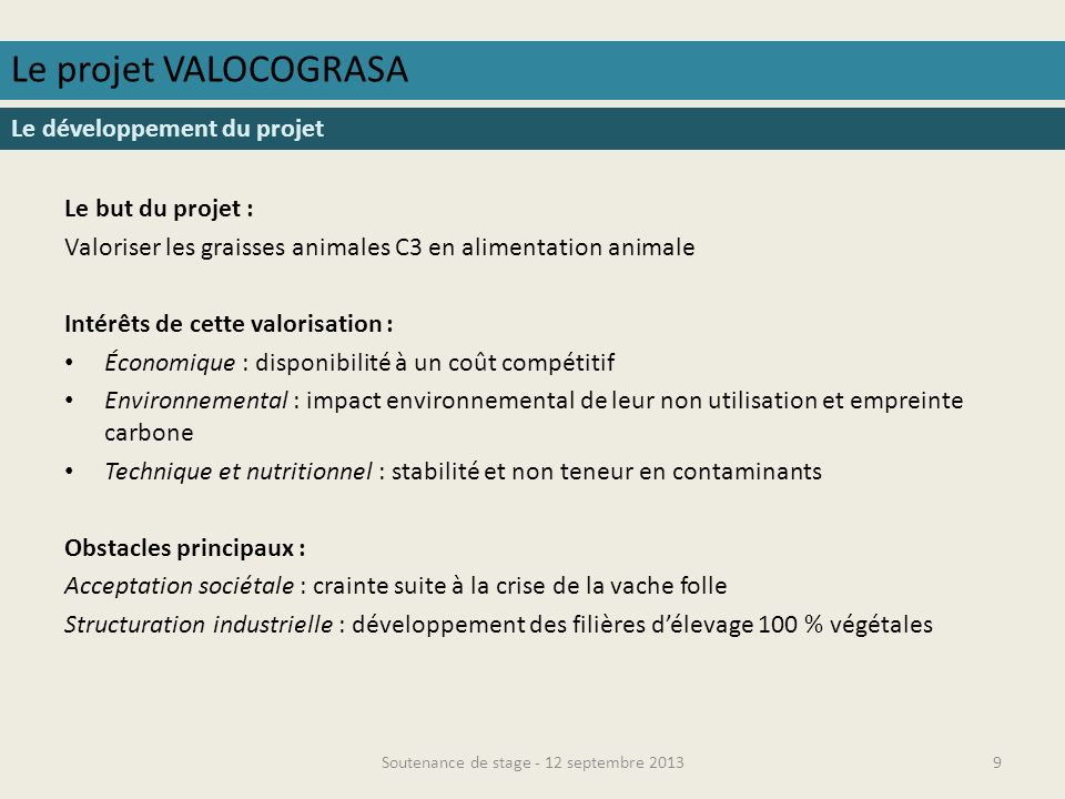 Soutenance de stage - 12 septembre 2013