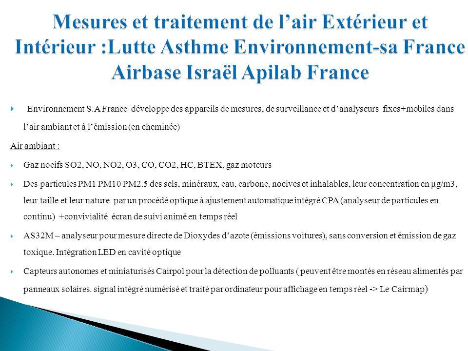 Mesures et traitement de l'air Extérieur et Intérieur :Lutte Asthme Environnement-sa France Airbase Israël Apilab France