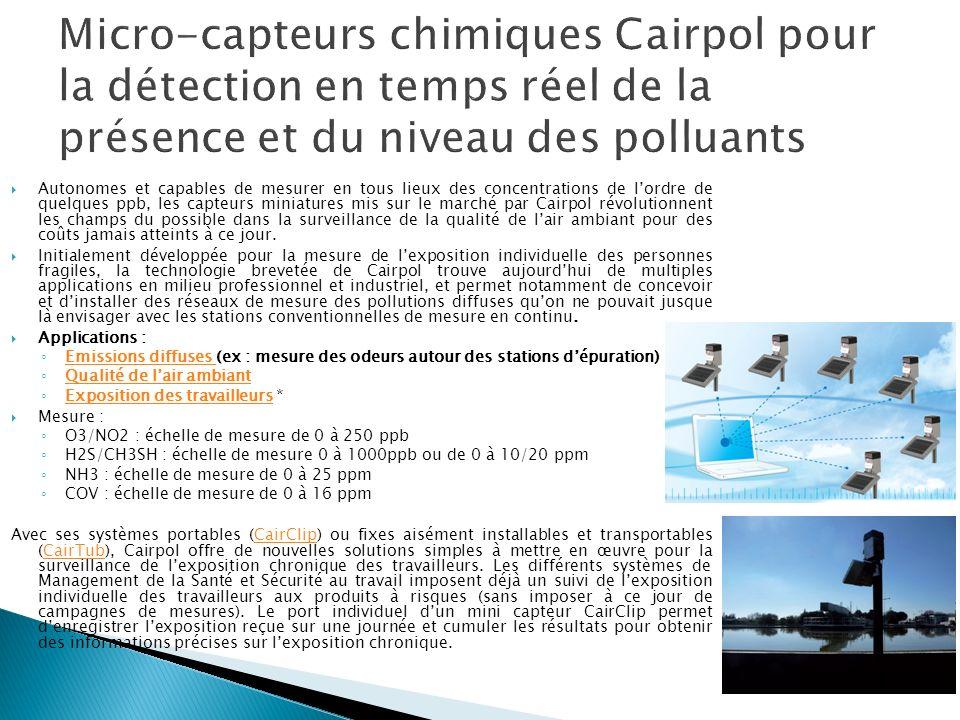 Micro-capteurs chimiques Cairpol pour la détection en temps réel de la présence et du niveau des polluants
