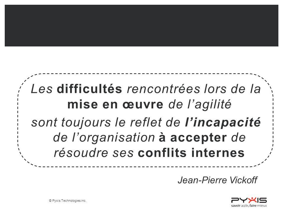 Les difficultés rencontrées lors de la mise en œuvre de l'agilité sont toujours le reflet de l'incapacité de l'organisation à accepter de résoudre ses conflits internes