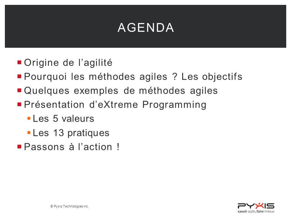 Agenda Origine de l'agilité