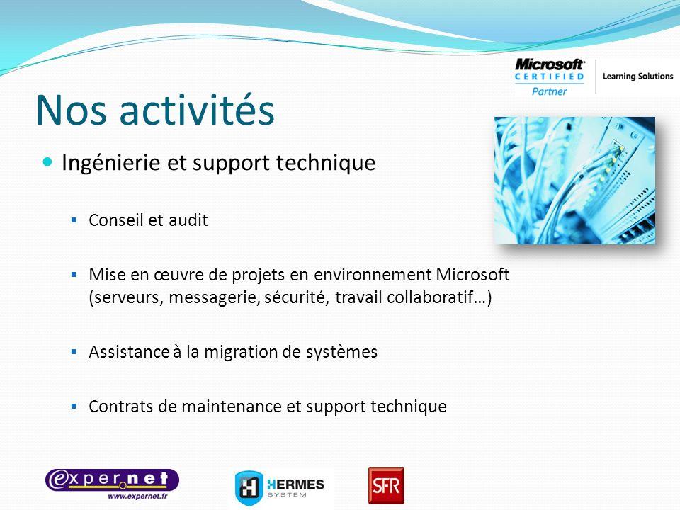 Nos activités Ingénierie et support technique Conseil et audit