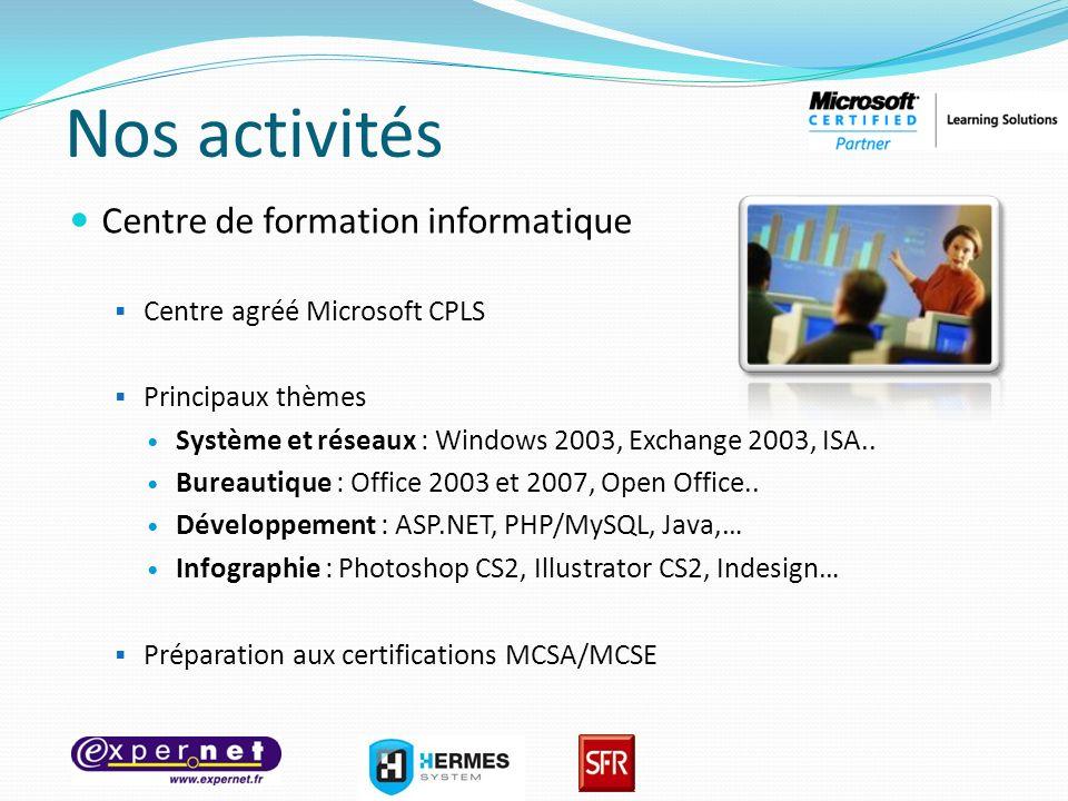 Nos activités Centre de formation informatique