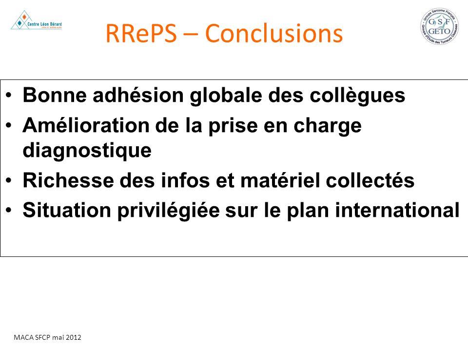 RRePS – Conclusions Bonne adhésion globale des collègues
