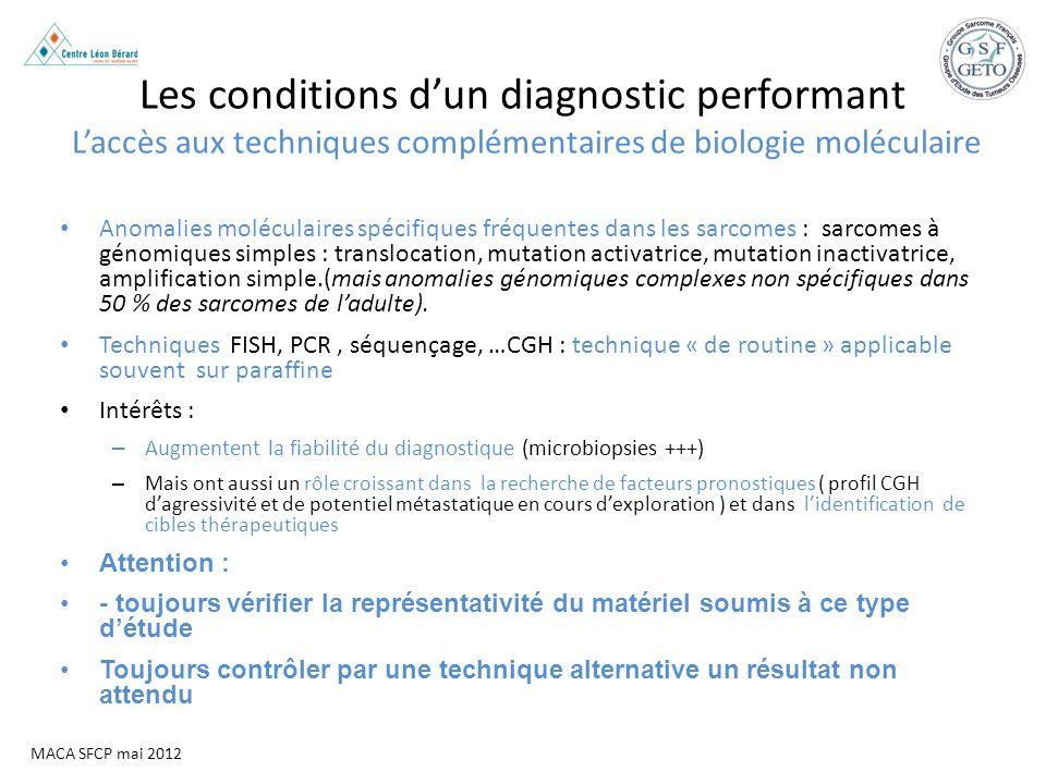 Les conditions d'un diagnostic performant L'accès aux techniques complémentaires de biologie moléculaire