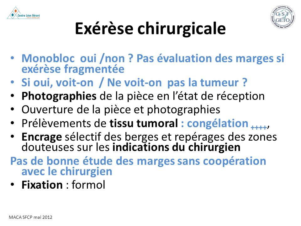 Exérèse chirurgicale Monobloc oui /non Pas évaluation des marges si exérèse fragmentée. Si oui, voit-on / Ne voit-on pas la tumeur