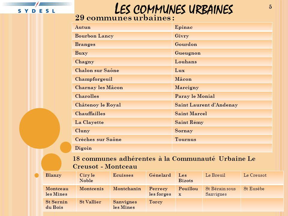 Les communes urbaines 29 communes urbaines :