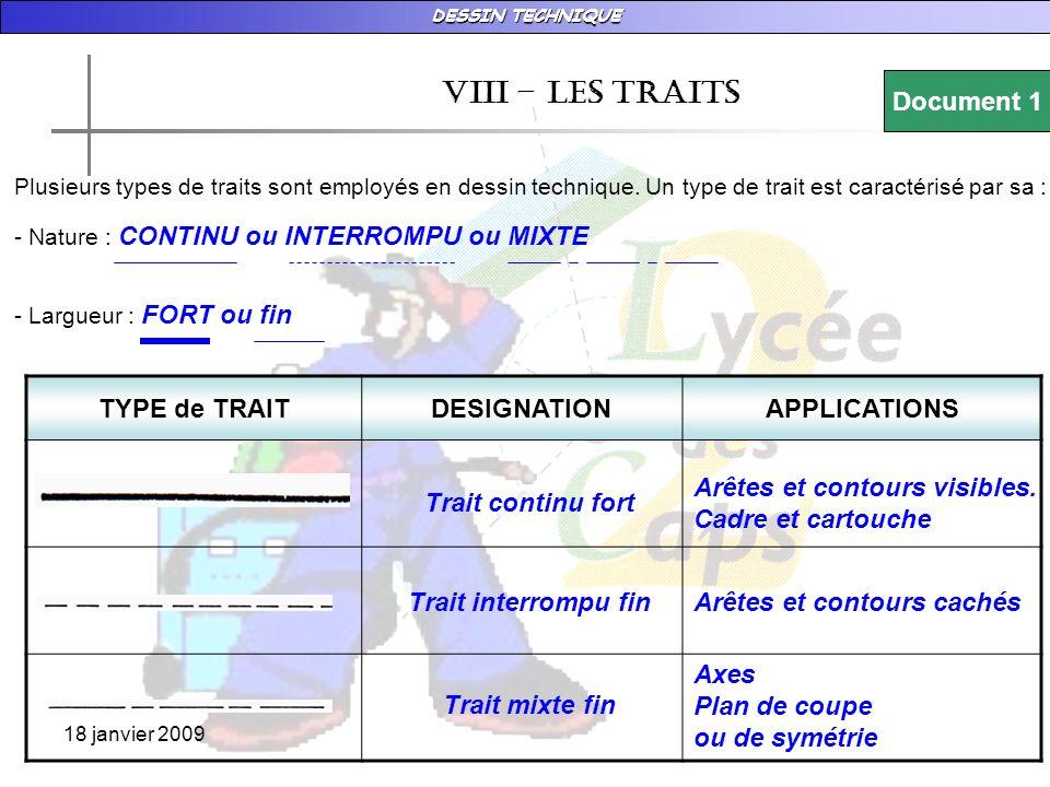 vIII – LES TRAITS Document 1 TYPE de TRAIT DESIGNATION APPLICATIONS