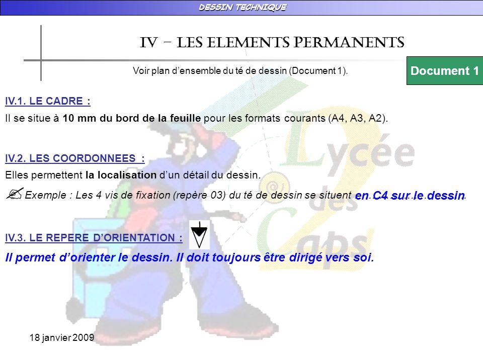 Iv – les ELEMENTS PERMANENTS