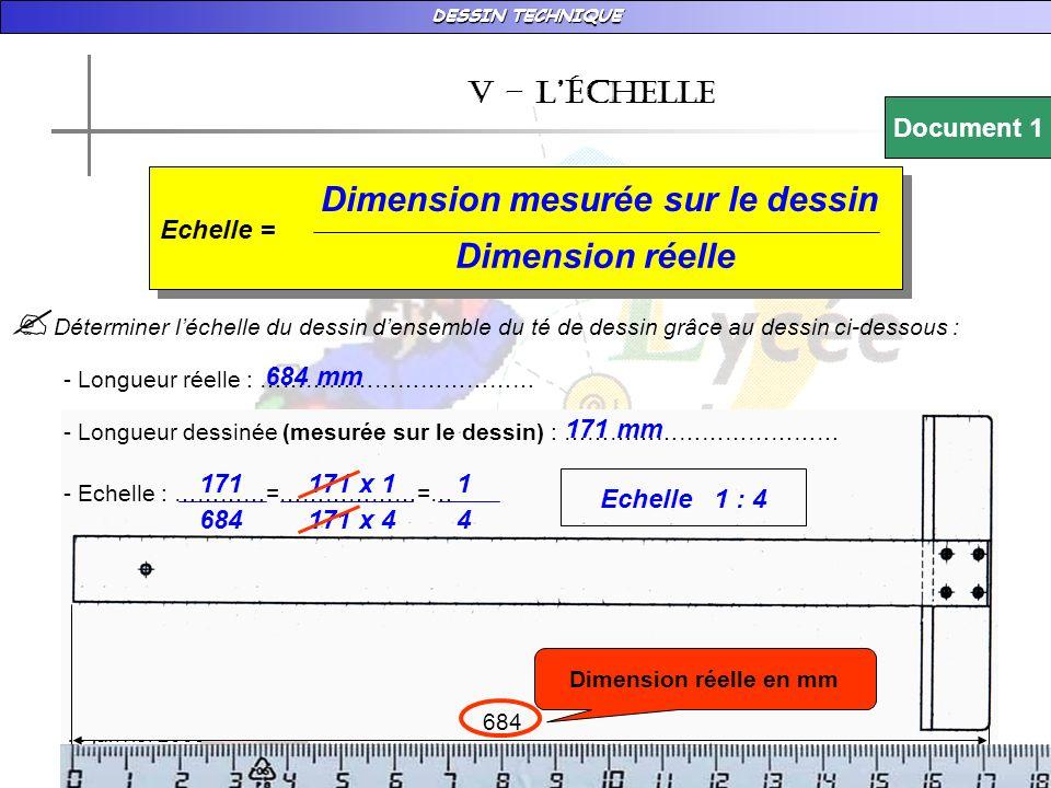 Dimension mesurée sur le dessin