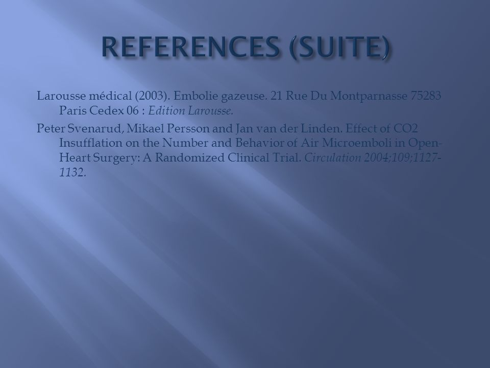 REFERENCES (SUITE)