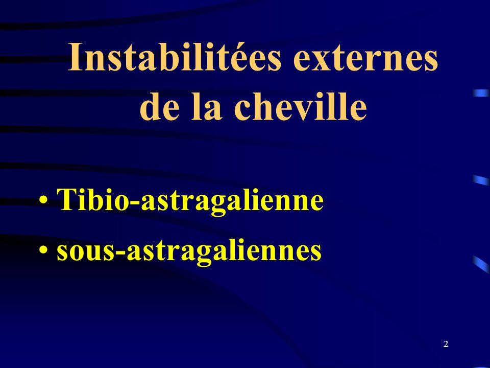 Instabilitées externes de la cheville