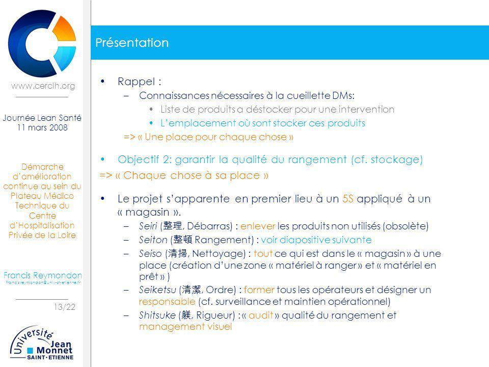 Présentation Rappel : Connaissances nécessaires à la cueillette DMs: Liste de produits a déstocker pour une intervention.