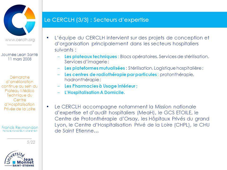 Le CERCLH (3/3) : Secteurs d'expertise