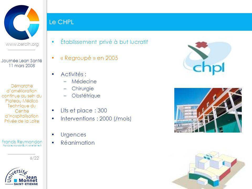 Le CHPL Établissement privé à but lucratif « Regroupé » en 2005