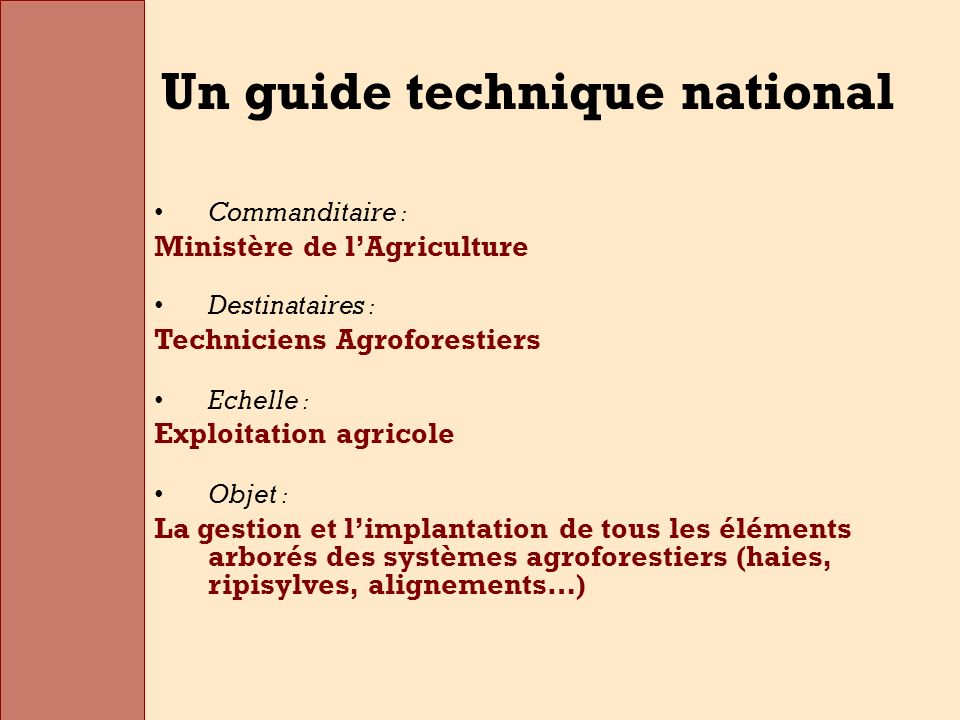 Un guide technique national