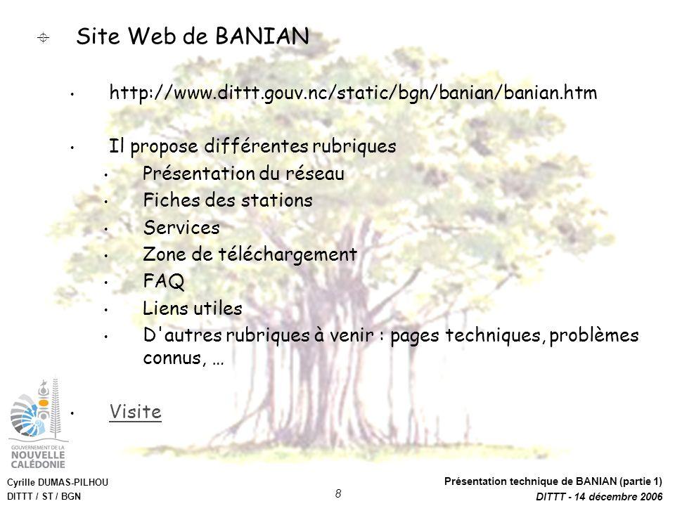 Site Web de BANIAN http://www.dittt.gouv.nc/static/bgn/banian/banian.htm. Il propose différentes rubriques.