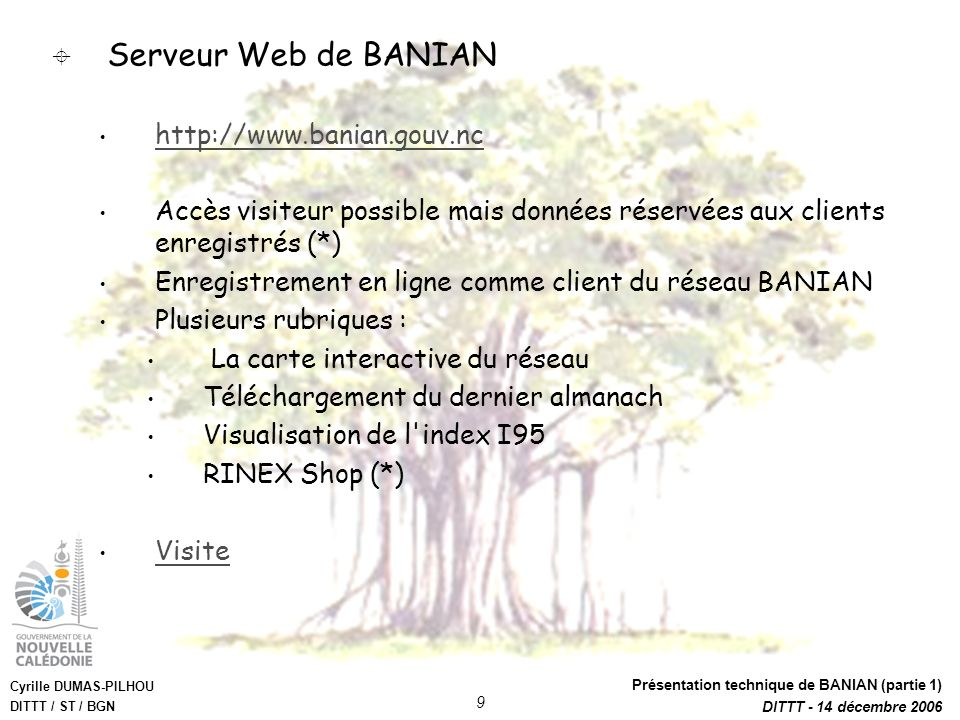 Serveur Web de BANIAN http://www.banian.gouv.nc