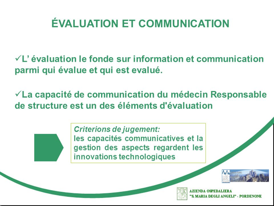 ÉVALUATION ET COMMUNICATION