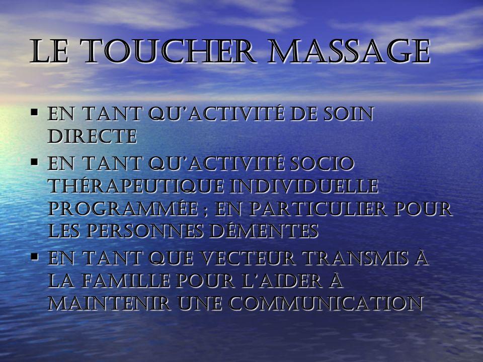 Le toucher massage En tant qu'activité de soin directe