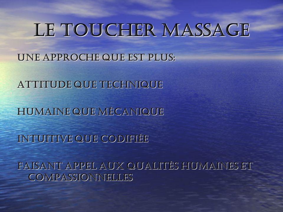 Le toucher massage Une approche que est plus: attitude que technique