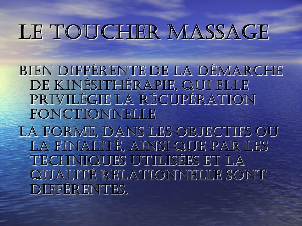 Le toucher massage Bien différente de la démarche de kinésithérapie, qui elle privilégie la récupération fonctionnelle.